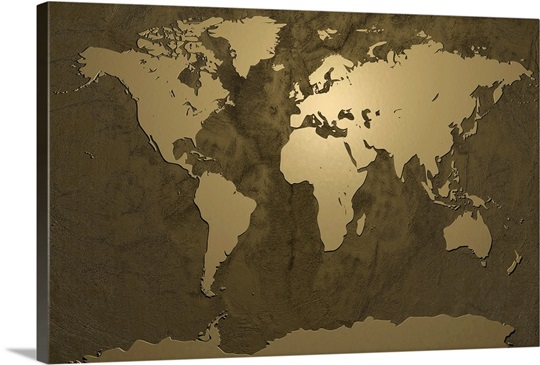 World map gold wall art canvas prints framed prints wall peels world map gold gumiabroncs Choice Image