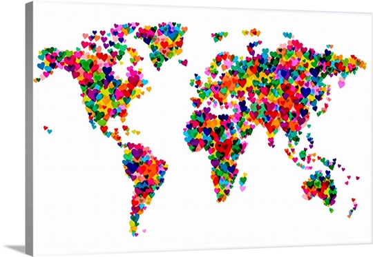 World Map Hearts Multicolor On White Wall Art Canvas Prints - White framed world map