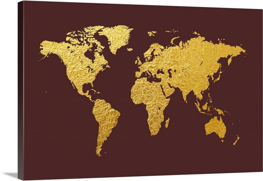 Gold Foil World Map Framed.World Map In Gold Foil Maroon Wall Art Canvas Prints Framed