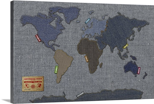 World map in the style of denim fabric wall art canvas prints world map in the style of denim fabric gumiabroncs Gallery