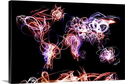 World Map Light Writing