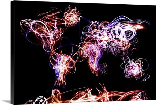 World map light writing wall art canvas prints framed prints wall world map light writing canvas gumiabroncs Choice Image