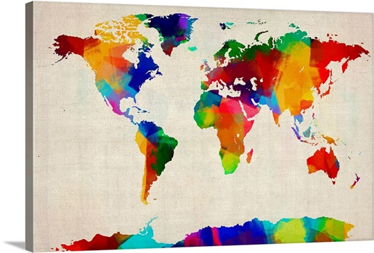 World map made up of brightly colored paint wall art canvas by michael tompsett world map made up of brightly colored paint canvas gumiabroncs Images