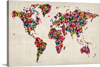 World map made up of Butterflies