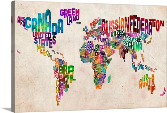 World Map Made Up Of Country Names Wall Art Canvas Prints Framed - World map with country name