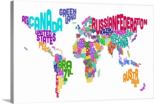 World map made up of country names wall art canvas prints framed world map made up of country names gumiabroncs Gallery