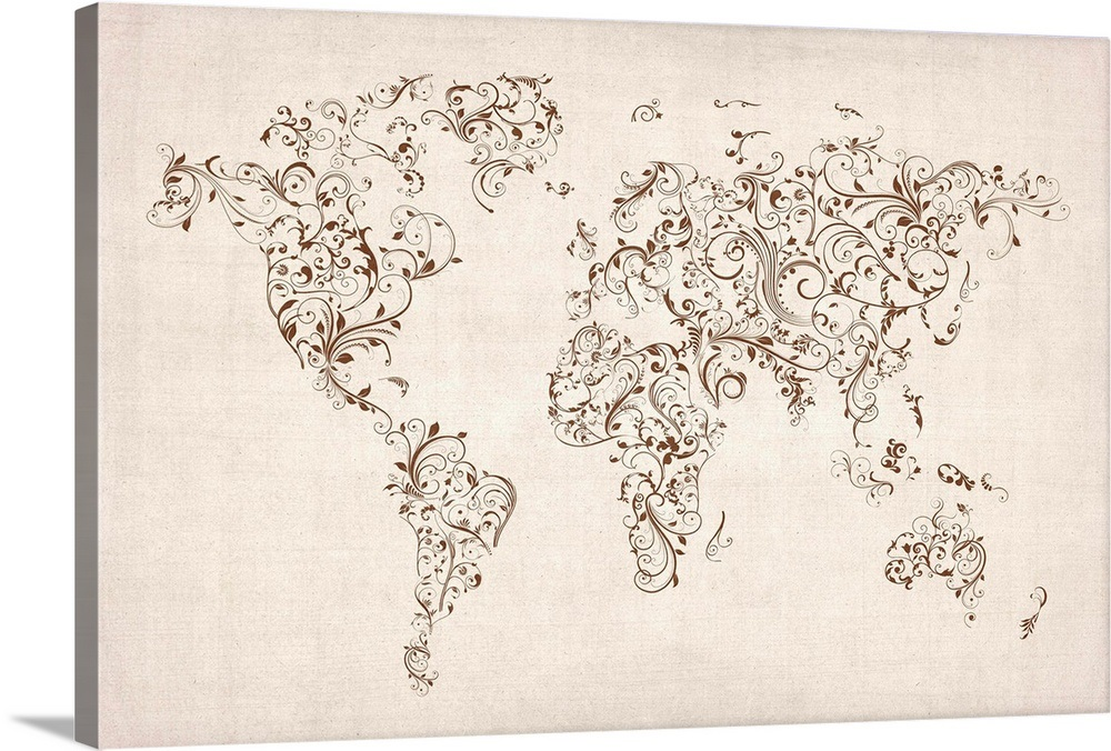 World map made up of Floral Swirls - neutral background on made up topographic maps, made up flags, made up gifts, made up toys, made up characters, made up games, made up photography, made up solar system, made up physical maps, made up country maps, made up military,