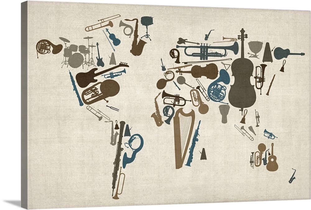 World Map Made Up Of Musical Instruments Wall Art Canvas Prints Framed Prints Wall Peels Great Big Canvas