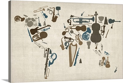 World map made up of Musical Instruments