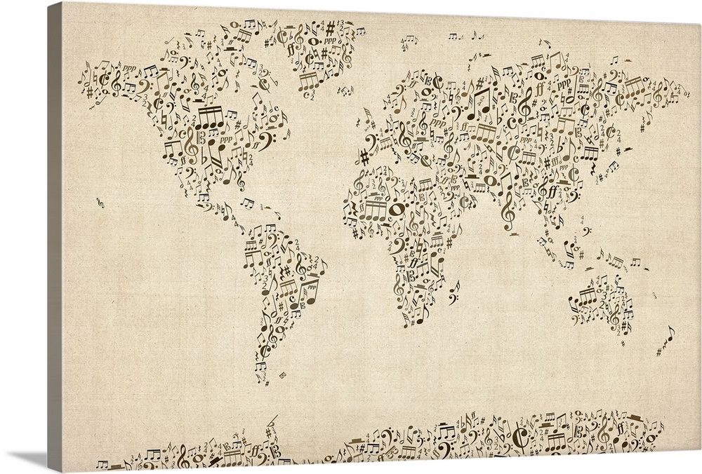 World Map made up of musical notes on made up topographic maps, made up flags, made up gifts, made up toys, made up characters, made up games, made up photography, made up solar system, made up physical maps, made up country maps, made up military,