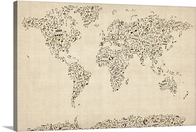 World Map made up of musical notes
