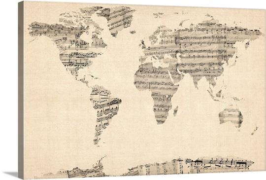Sheet Music Wall Art world map made up of sheet music wall art, canvas prints, framed