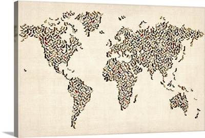 World map made up of shoes