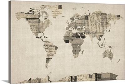 World Map made up of vintage postcards