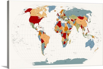 World Map Muted Colors