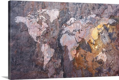 World Map on Stone