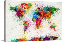 Maps wall art canvas prints maps panoramic photos posters world map paint drops gumiabroncs Choice Image