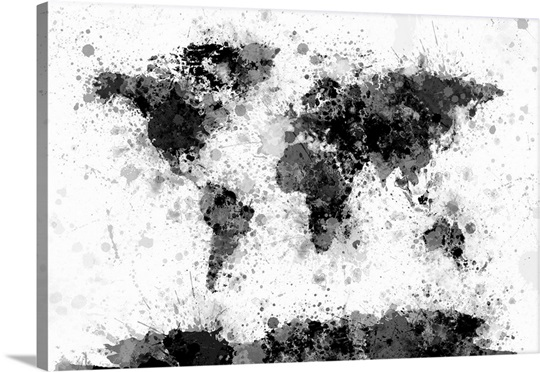 World map paint splashes wall art canvas prints framed prints world map paint splashes canvas gumiabroncs Choice Image
