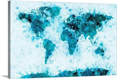 World Map Paint Splashes Blue