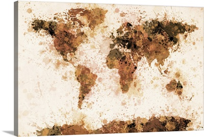 World Map Paint Splashes Bronze