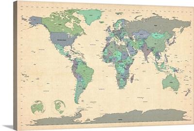 World map showing latitude and longitude - blue
