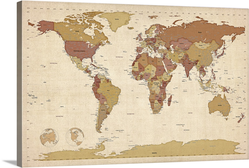 World map showing latitude and longitude - brown