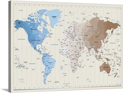 World Map showing timezones