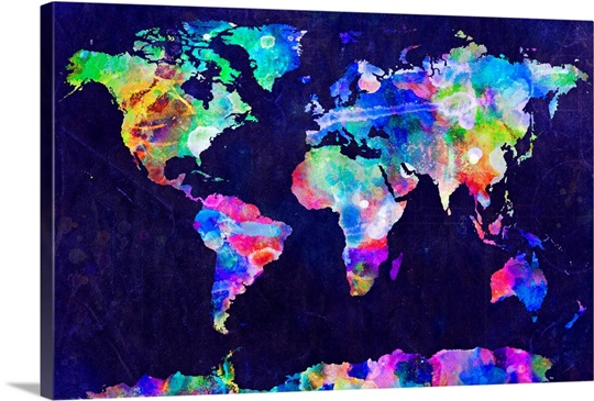 World map urban watercolor wall art canvas prints framed prints world map urban watercolor sciox Image collections