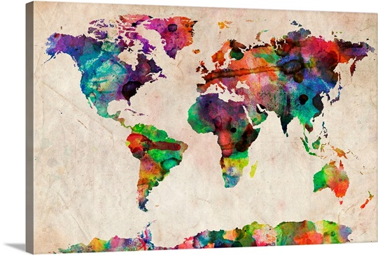 World map urban watercolor wall art canvas prints framed prints world map urban watercolor sciox Images