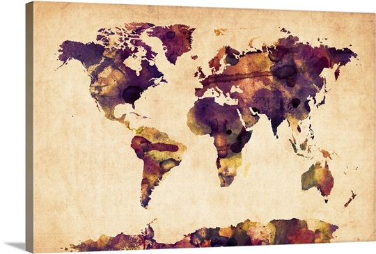World Map Watercolor, Purple