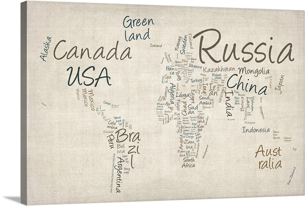 World map with countries made up of text names Wall Art Canvas