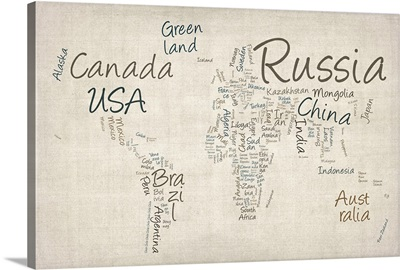 World map with countries made up of text names