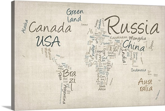 World map with countries made up of text names wall art canvas world map with countries made up of text names gumiabroncs Image collections