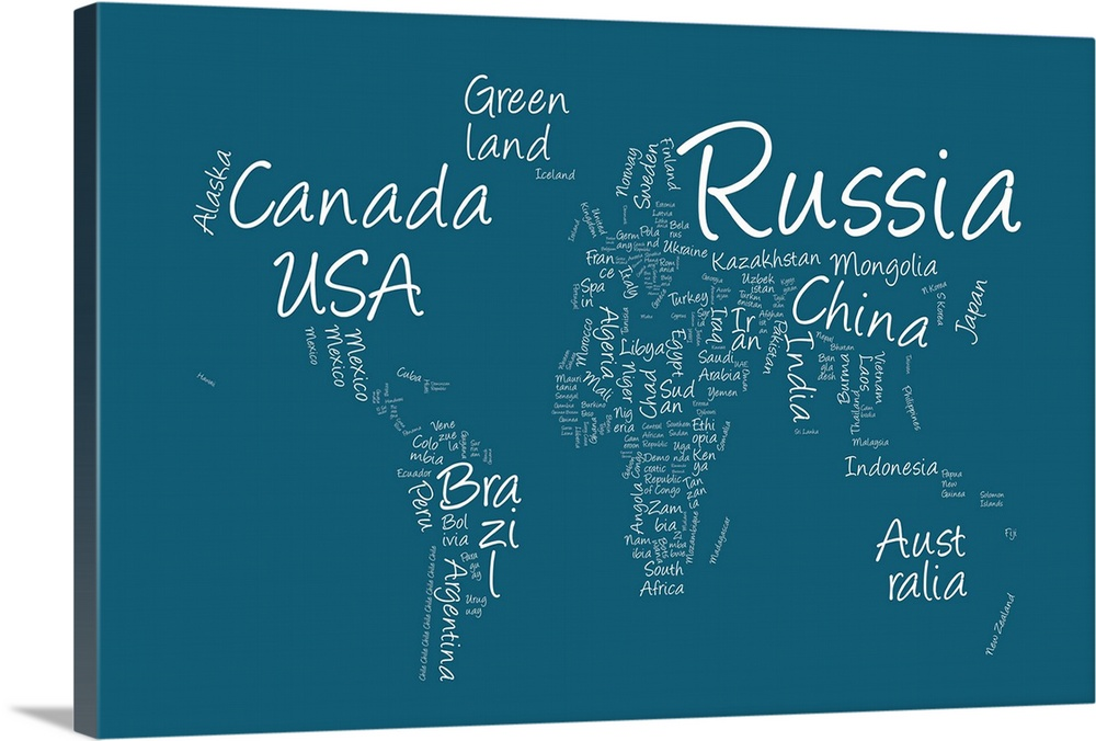 World map with countries made up of text names blue background