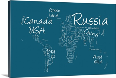 World map with countries made up of text names - blue background