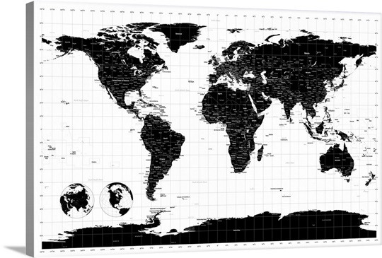 World Map With Longitude And Latitude Lines Marked Wall Art - Large sepia world map