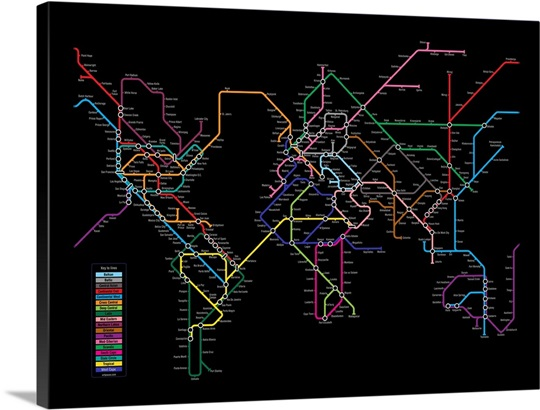 World metro map wall art canvas prints framed prints wall peels world metro map gumiabroncs Choice Image