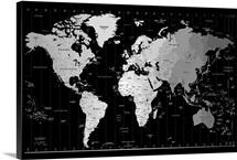 World Maps Wall Art Canvas Prints World Maps Panoramic Photos - Big black and white world map