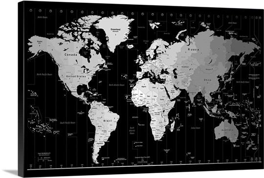 World Timezone map Wall Art Canvas Prints Framed Prints Wall