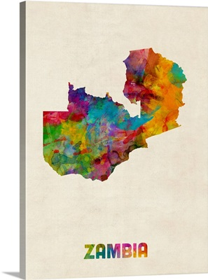 Zambia Watercolor Map