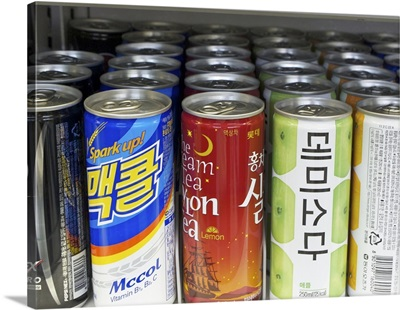 Drinks on shelves, Seoul, Korea