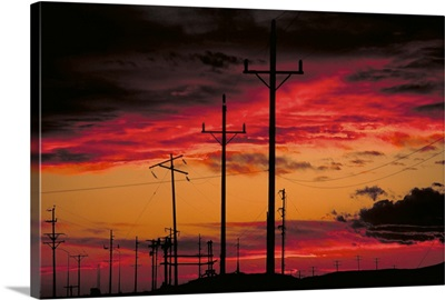 Sunset and poles