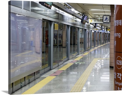 Underground train station, Seoul, South Korea