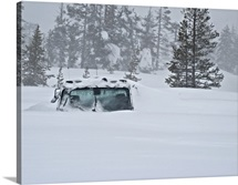 Snow buried vehicle, Donner Summit, California