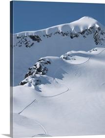 Snowboarder tracks in the mountain snow, Valdez, Alaska