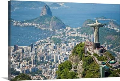 Aerial of the Christ the Redeemer statue overlooking Rio de Janeiro