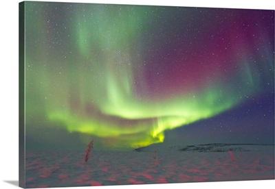 An aurora borealis in the Arctic Circle
