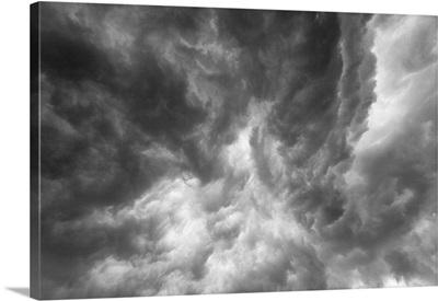 Black swirling clouds underneath a thunderstorm in Tornado Alley