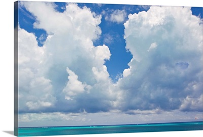 Large clouds over Grace Bay, in the Turks and Caicos Islands