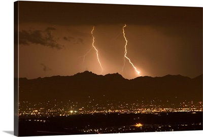 Lightning bolt strikes out of a typical monsoonal lightning storm